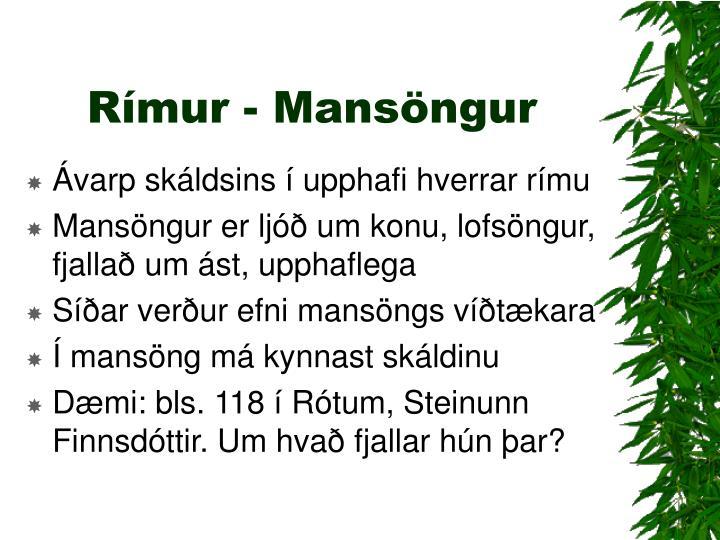 Rímur - Mansöngur