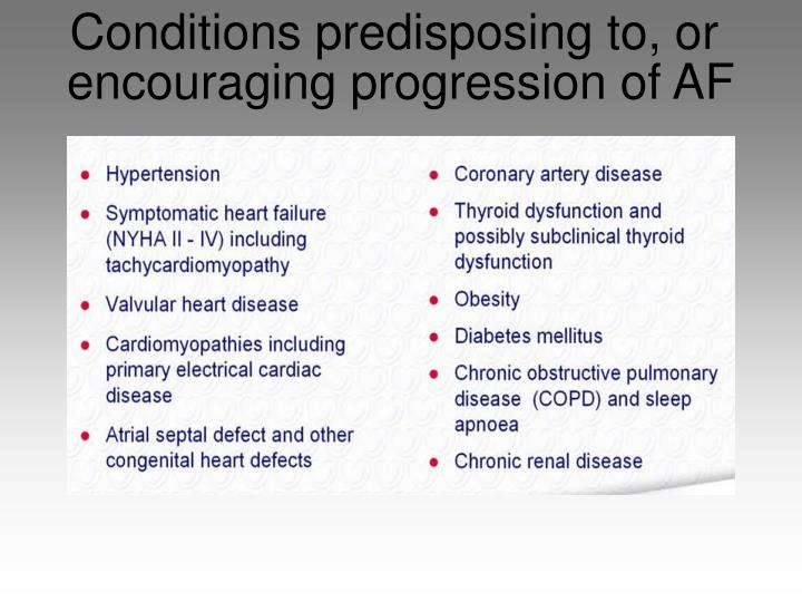 Conditions predisposing to, or