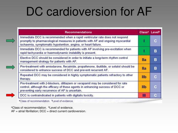 DC cardioversion for AF