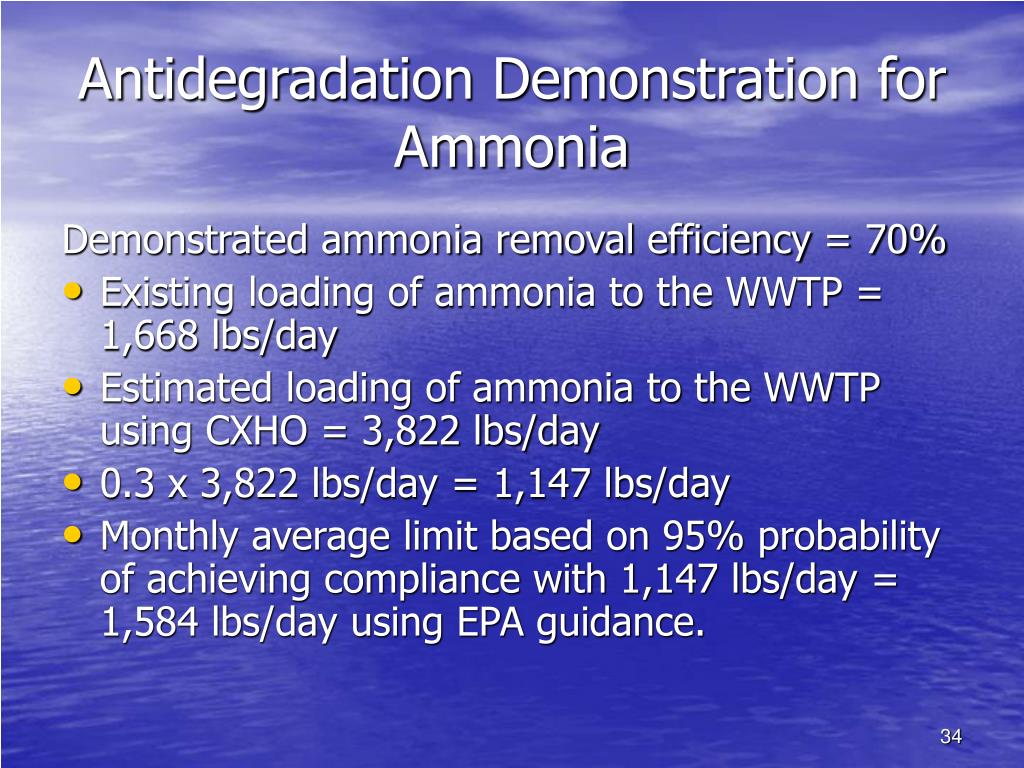 Antidegradation Demonstration for Ammonia