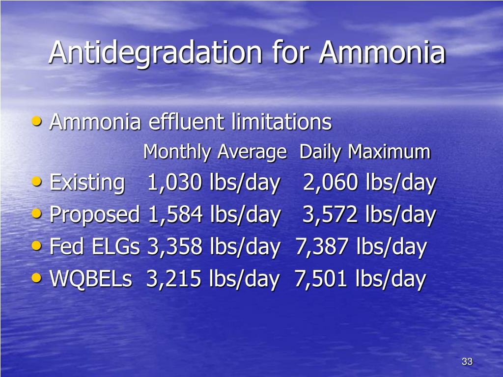 Antidegradation for Ammonia