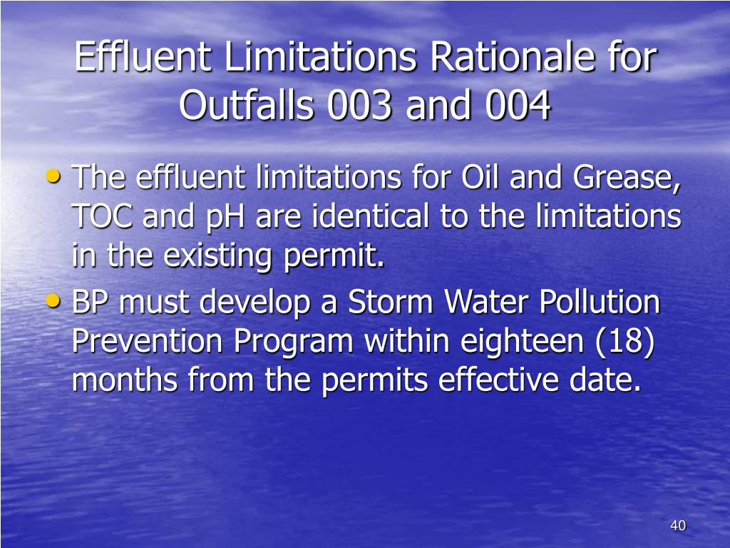 Effluent Limitations Rationale for Outfalls 003 and 004