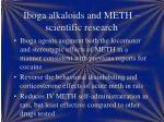 iboga alkaloids and meth scientific research