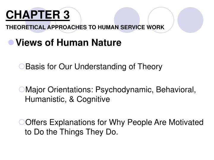 theoretical perspective to human services The evolutionary perspective argues that many human behavioural tendencies evolved through biological necessity to help our ancestors survive and reproduce.