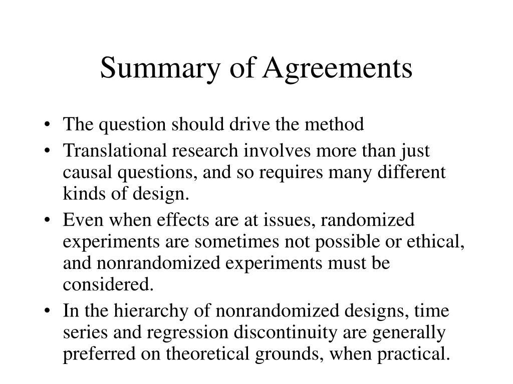 Summary of Agreements