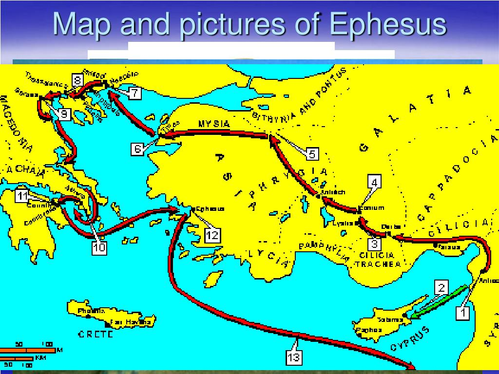 Map and pictures of Ephesus