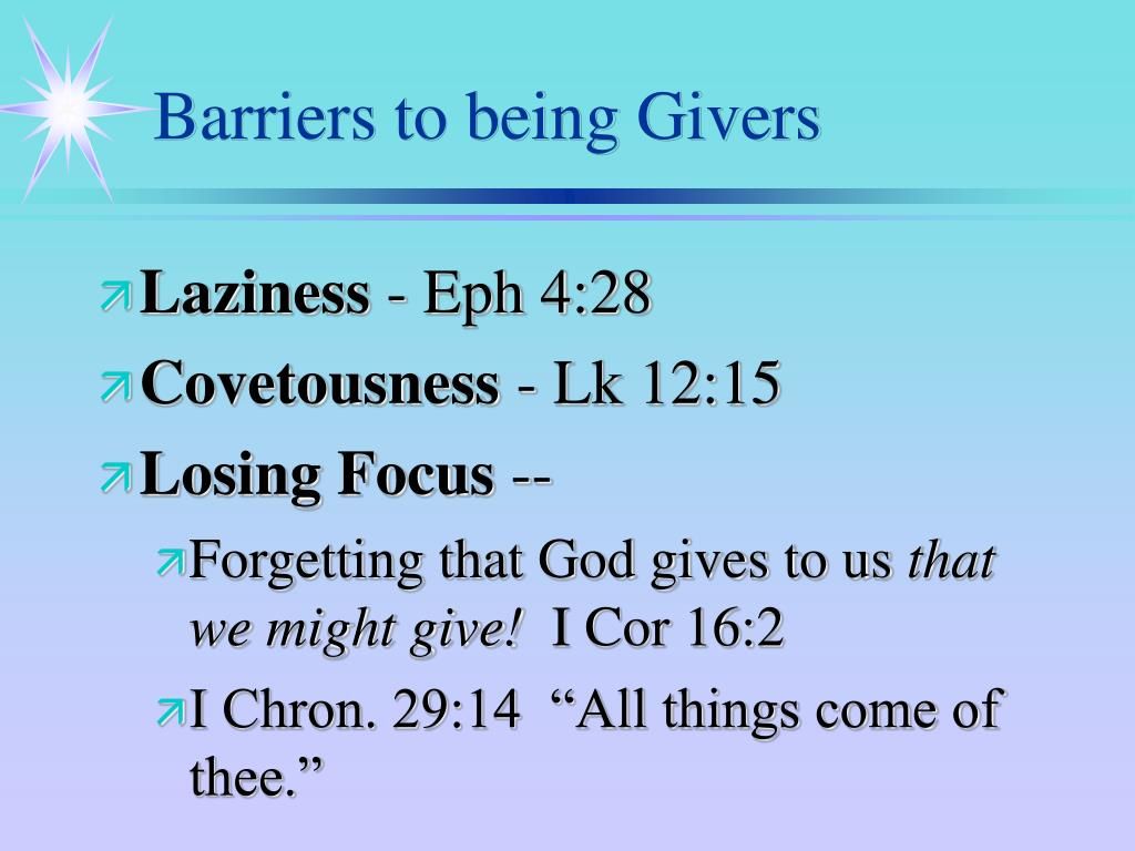 Barriers to being Givers