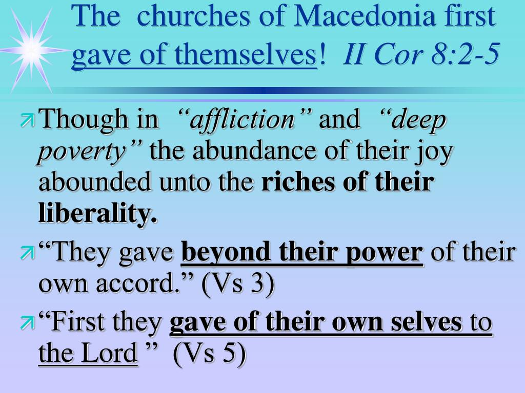 The  churches of Macedonia first