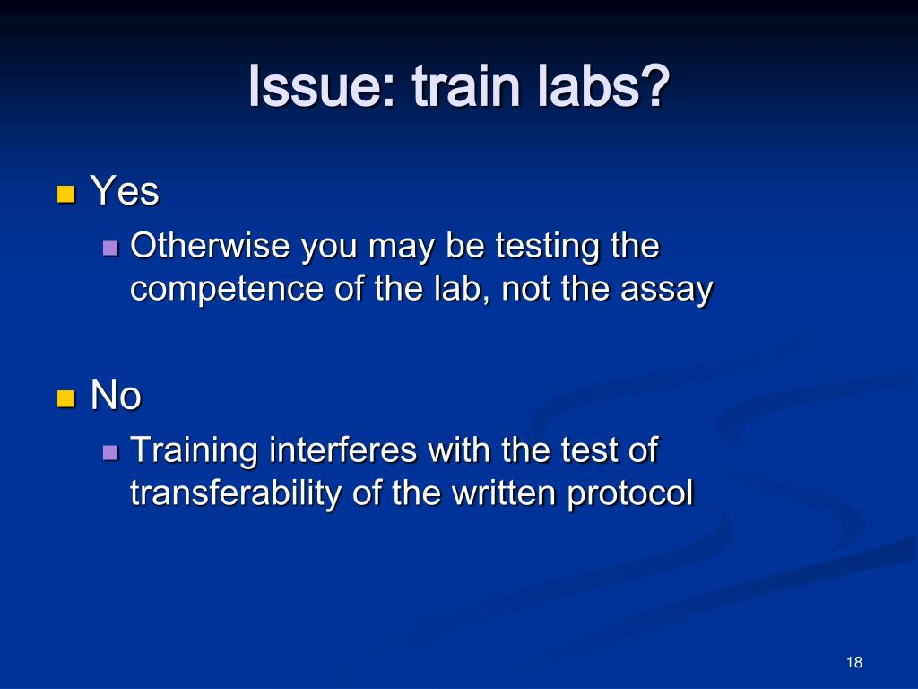Issue: train labs?