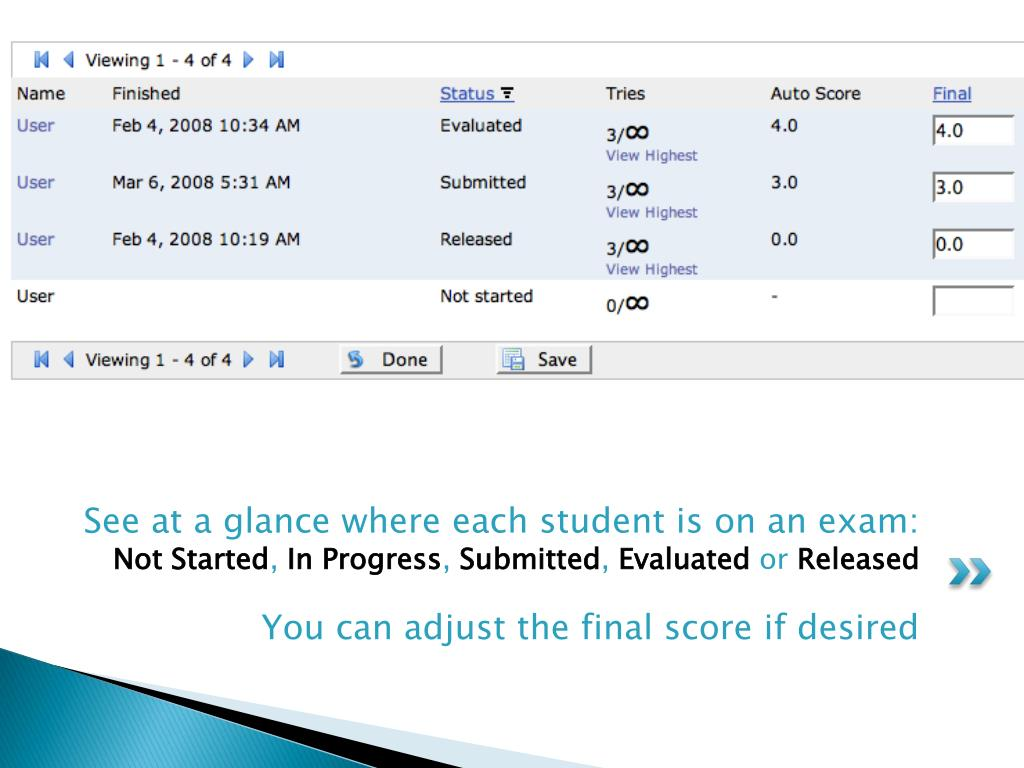 See at a glance where each student is on an exam: