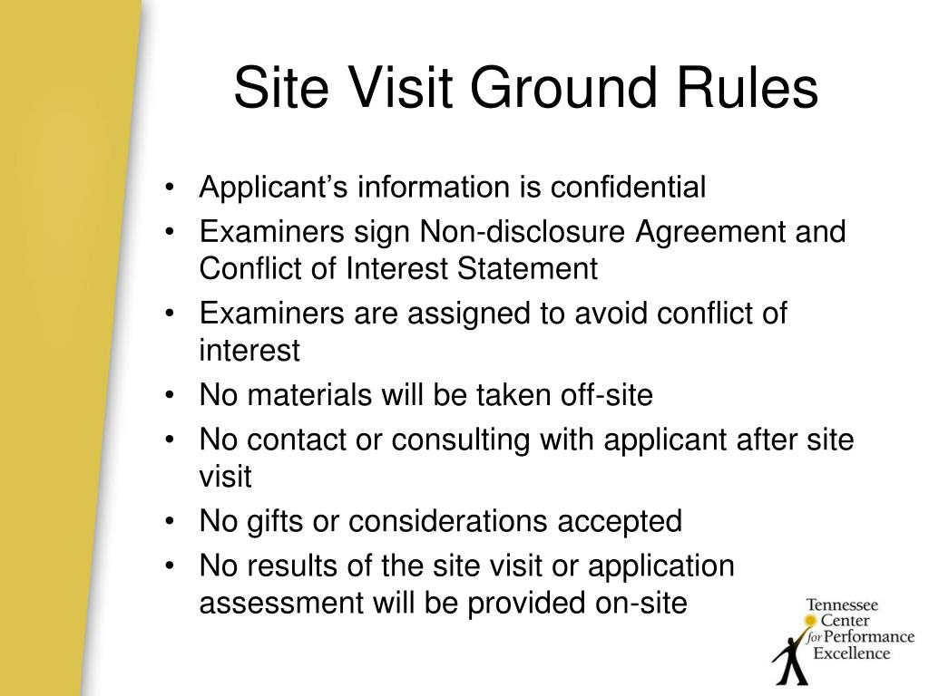 Site Visit Ground Rules