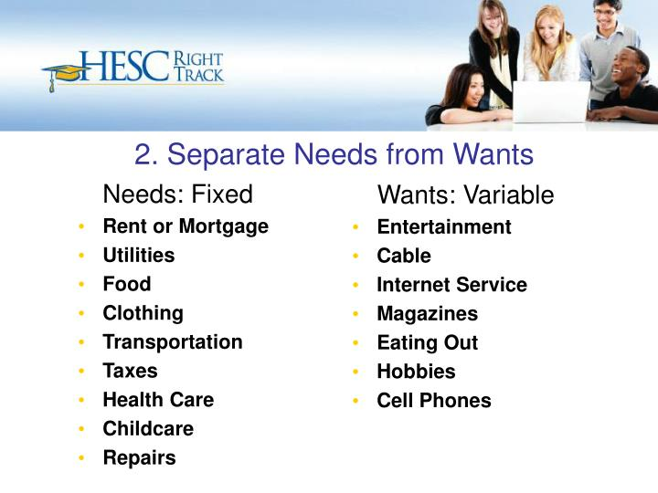 2. Separate Needs from Wants