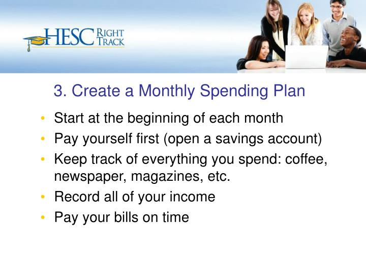 3. Create a Monthly Spending Plan