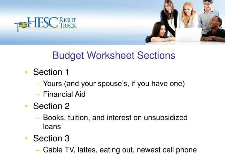 Budget Worksheet Sections