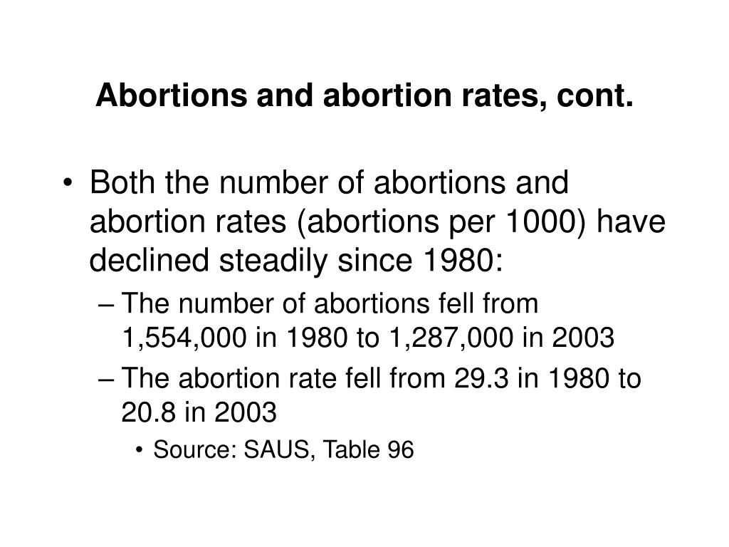 Abortions and abortion rates, cont.