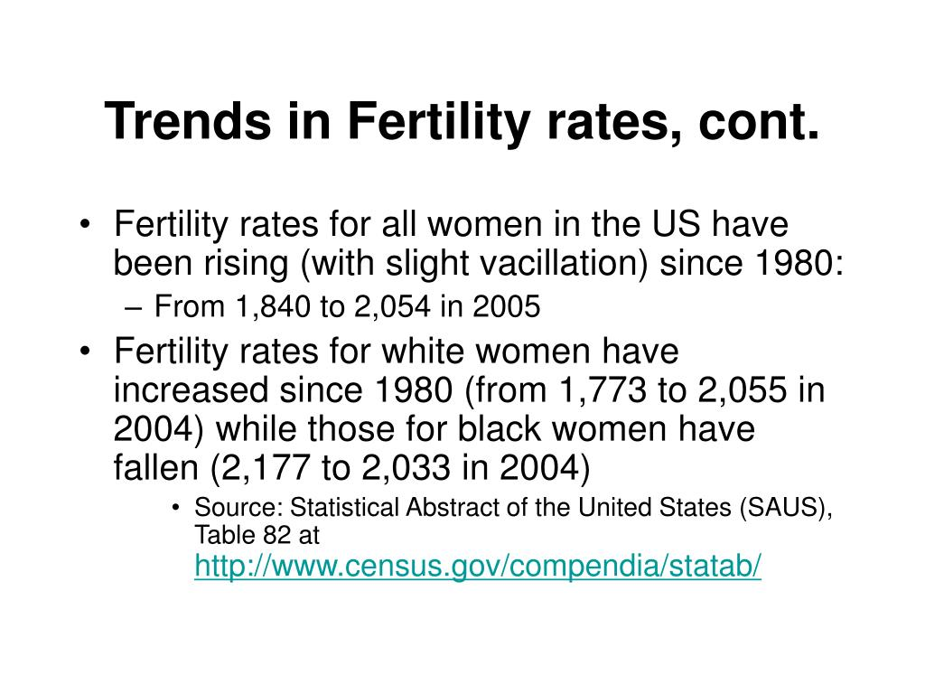 Trends in Fertility rates, cont.