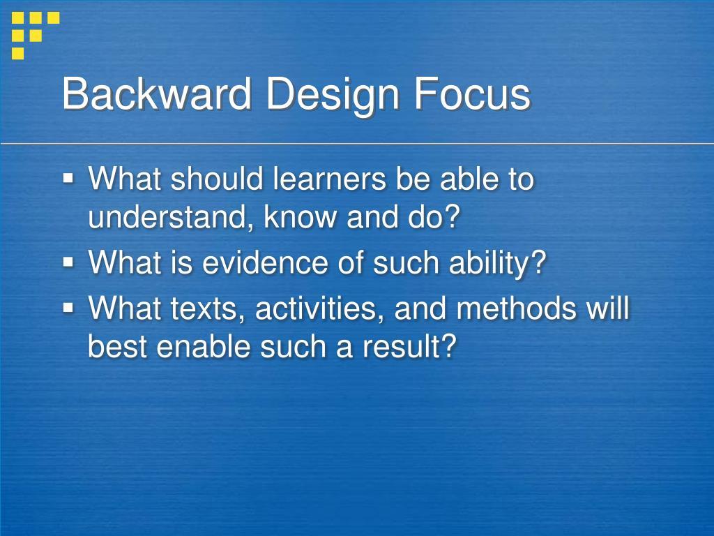 Backward Design Focus