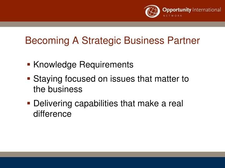 Becoming A Strategic Business Partner