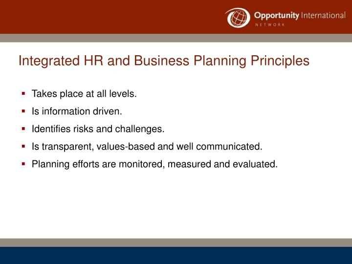 Integrated HR and Business Planning Principles