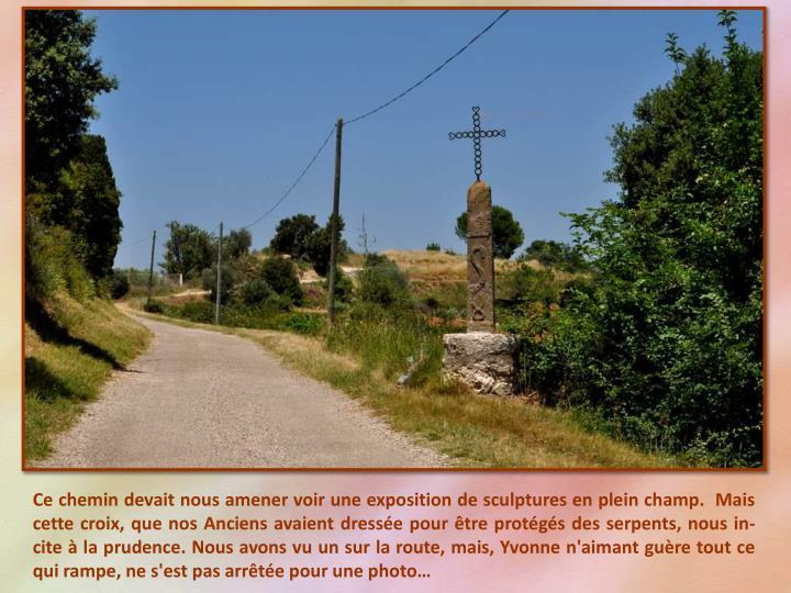 Ce chemin devait nous amener voir une exposition de sculptures en plein champ.  Mais cette croix, que nos Anciens avaient dressée pour être protégés des serpents, nous in-cite à la prudence. Nous avons vu un sur la route, mais, Yvonne n'aimant guère tout ce qui rampe, ne s'est pas arrêtée pour une photo…