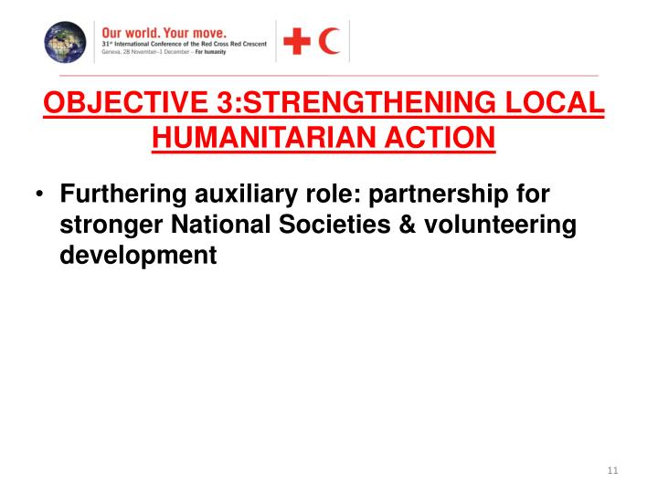 OBJECTIVE 3:STRENGTHENING LOCAL HUMANITARIAN ACTION
