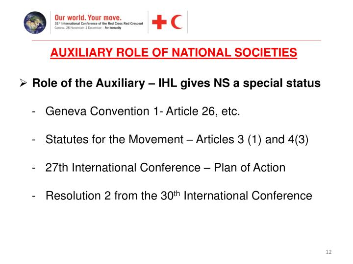 AUXILIARY ROLE OF NATIONAL SOCIETIES