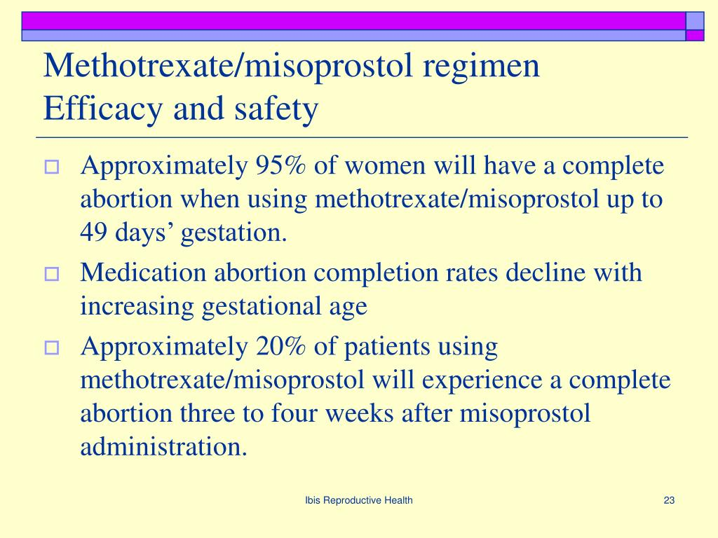 Methotrexate/misoprostol regimen