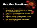 quiz one questions