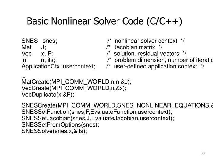 Basic Nonlinear Solver Code (C/C++)