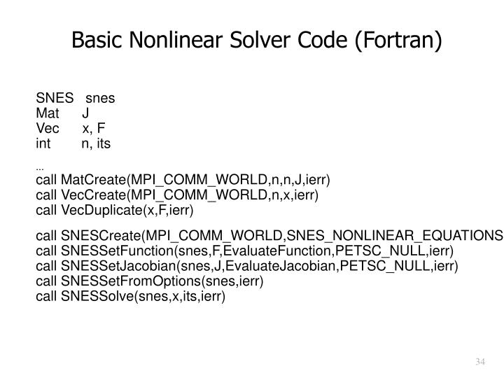 Basic Nonlinear Solver Code (Fortran)
