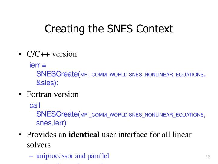 Creating the SNES Context