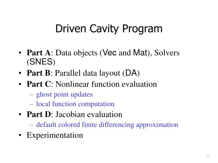 Driven Cavity Program