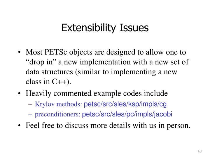 Extensibility Issues