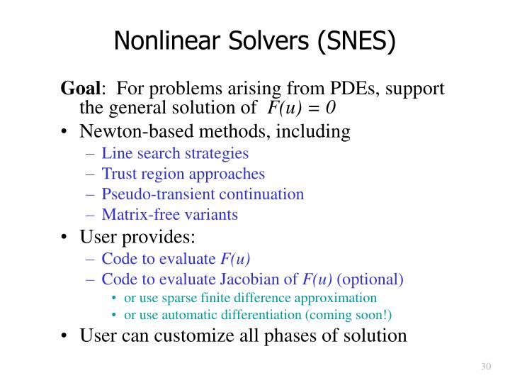 Nonlinear Solvers (SNES)