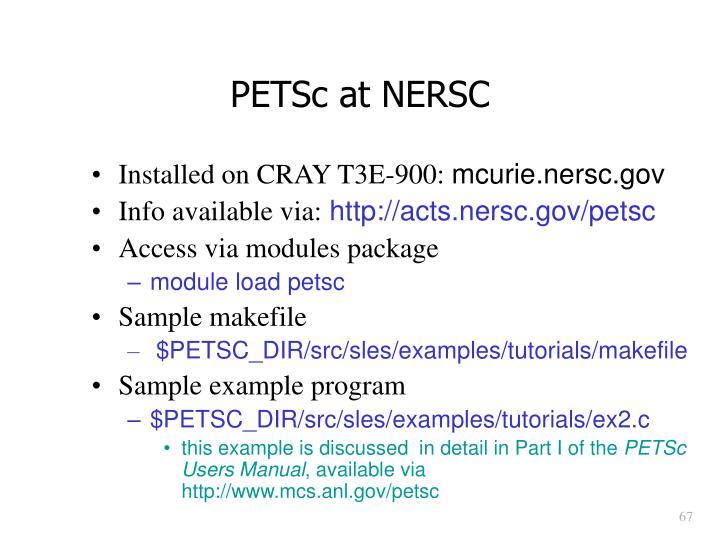 PETSc at NERSC