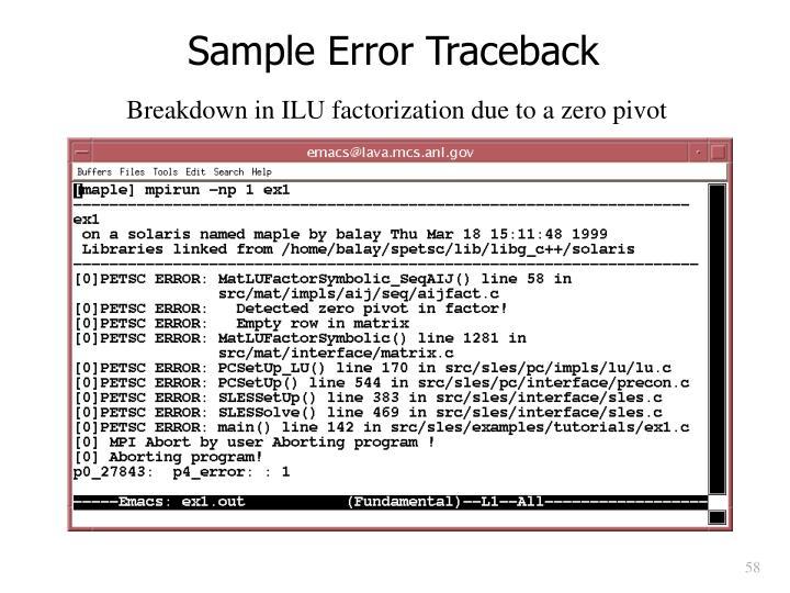 Sample Error Traceback