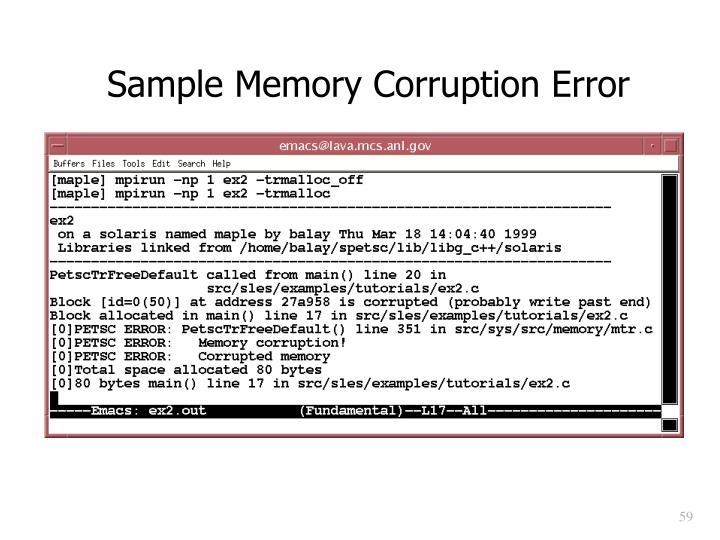 Sample Memory Corruption Error