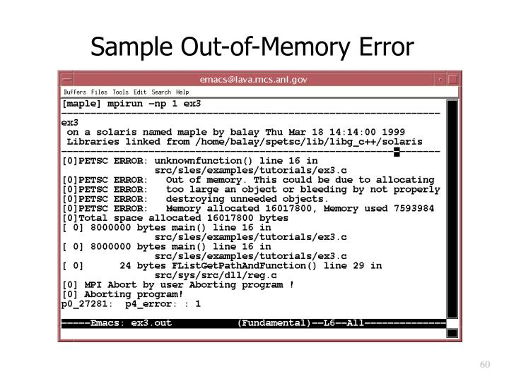 Sample Out-of-Memory Error