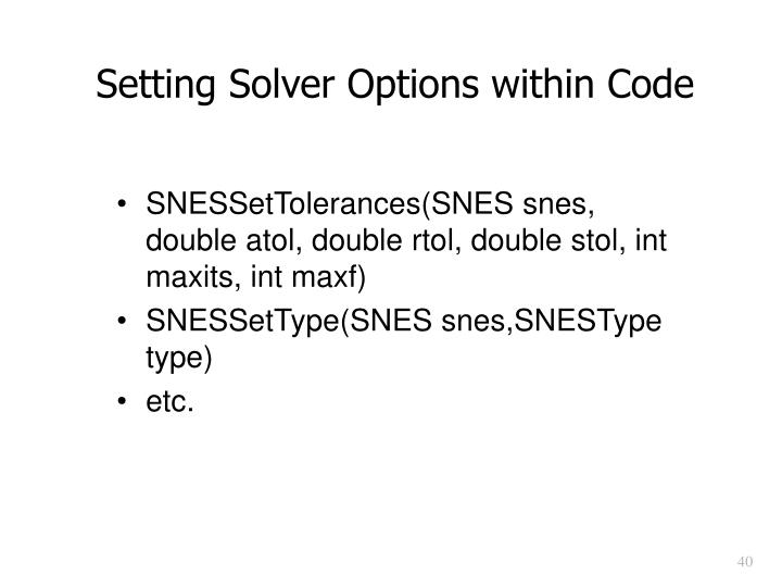 Setting Solver Options within Code