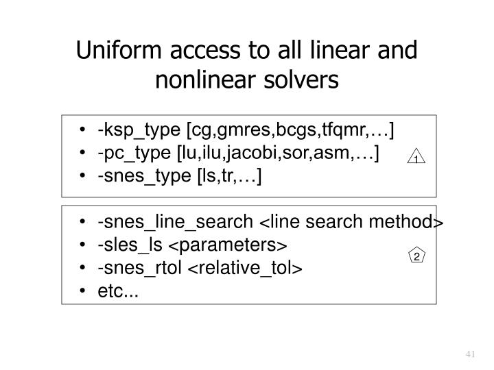 Uniform access to all linear and nonlinear solvers