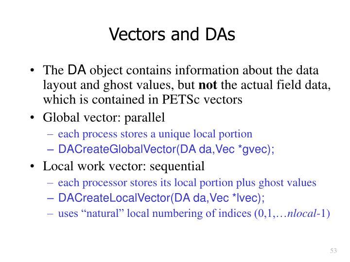 Vectors and DAs