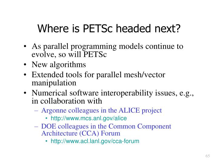 Where is PETSc headed next?