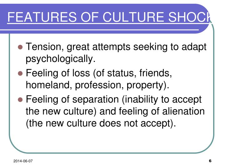 FEATURES OF CULTURE SHOCK
