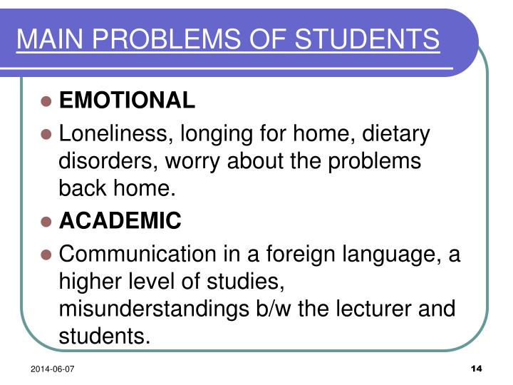 MAIN PROBLEMS OF STUDENTS