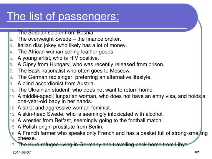 The list of passengers: