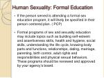human sexuality formal education