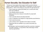 human sexuality sex education for staff