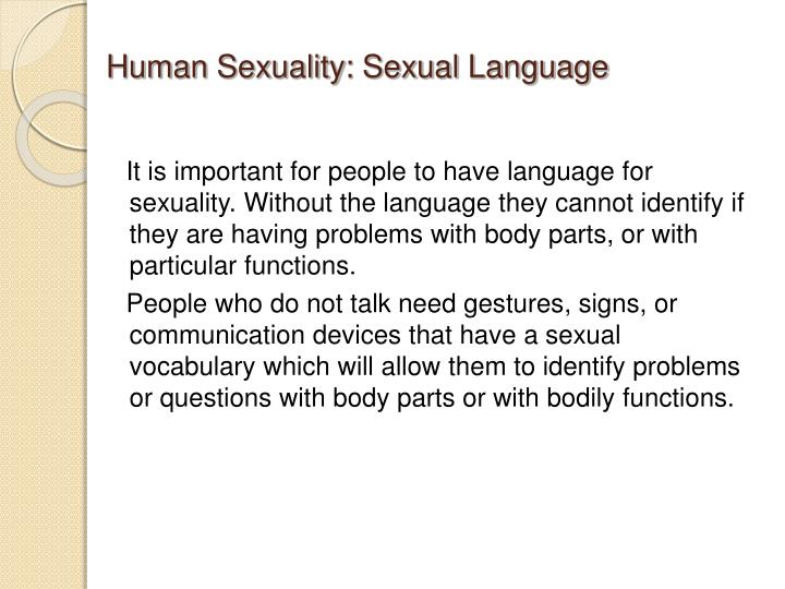 Human Sexuality: Sexual Language