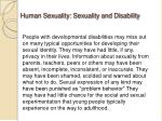 human sexuality sexuality and disability