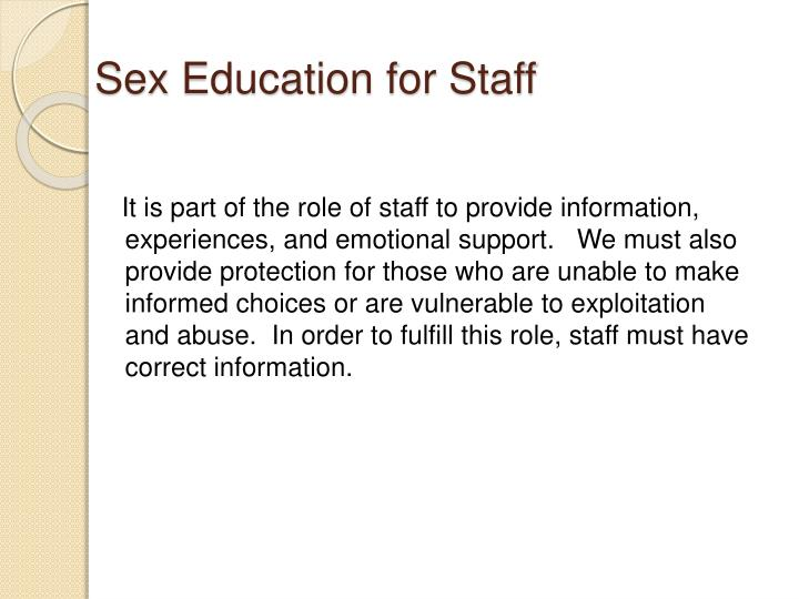 Sex Education for Staff
